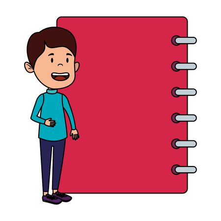 happy student boy with notebook supply vector illustration design