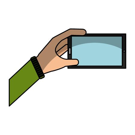 hand human with smartphone icon vector illustration design Stok Fotoğraf - 129279632