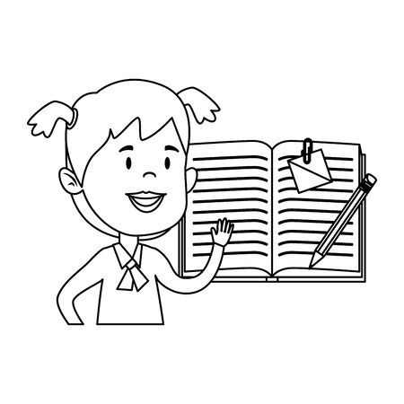 happy student girl with textbook and pencil vector illustration design