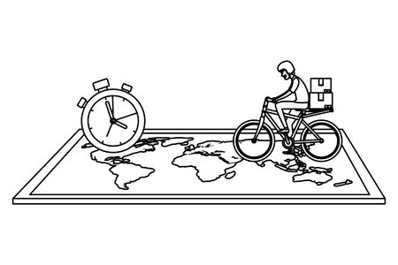 worker of delivery service in bicycle with chronometer and map vector illustration Stock Illustratie