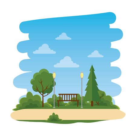 recreational park with chair natural scene vector illustration design