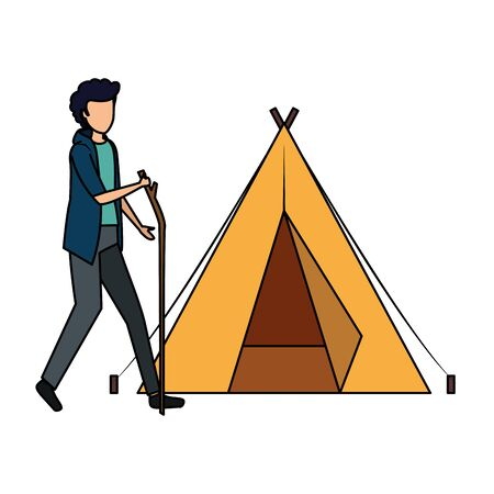 tent camping with young man walking vector illustration design