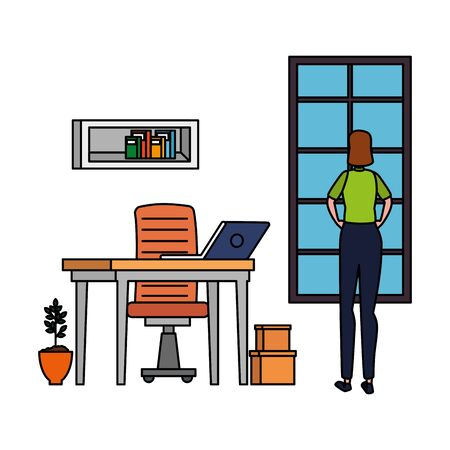 woman in office workplace scene with laptop vector illustration design