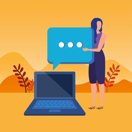 young woman with laptop character vector illustration design Иллюстрация
