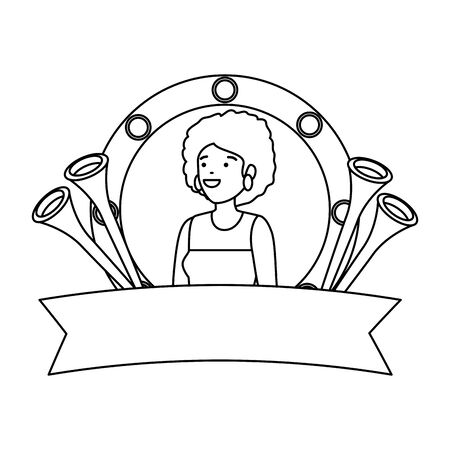 beautiful circus woman with trumpets in emblem vector illustration design