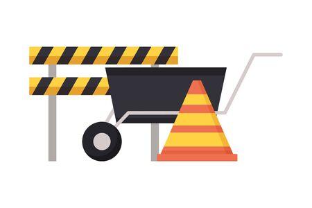 barricade wheelbarrow traffic cone tool construction vector illustration Иллюстрация