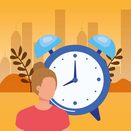 young woman with alarm clock vector illustration design