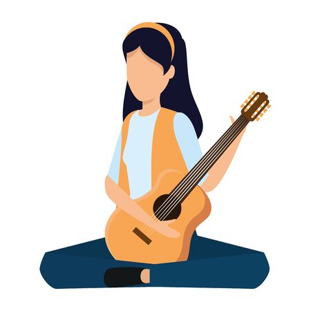 young woman playing guitar instrument vector illustration design Banque d'images - 129301233