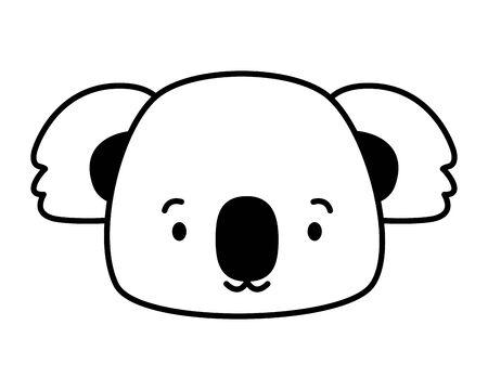 cute koala face cartoon vector illustration design