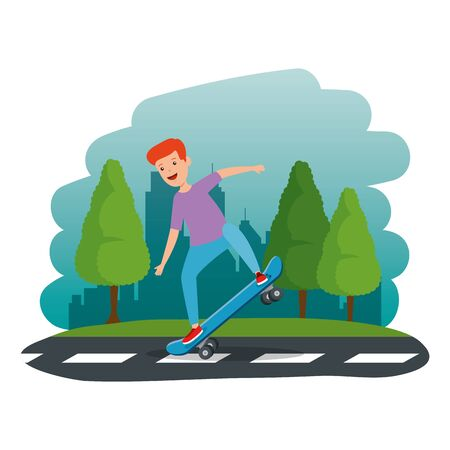happy young boy in skateboard in the road vector illustration design