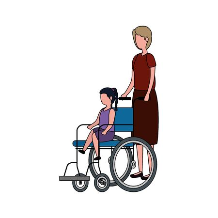 cute grandmother with granddaughter in wheelchair vector illustration design Stock Vector - 129259506