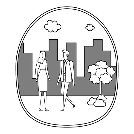 elegant young business couple on the city vector illustration design Stock Vector - 129328616