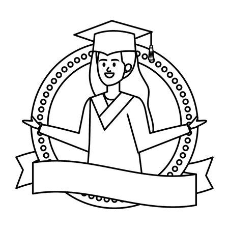 young woman student graduated in ribbon emblem vector illustration design 版權商用圖片 - 129328613