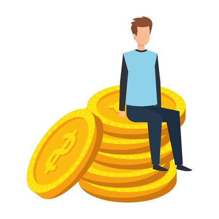 young man seated in coins cash money dollars vector illustration design Illustration