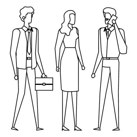 elegant young business people using smartphone vector illustration design