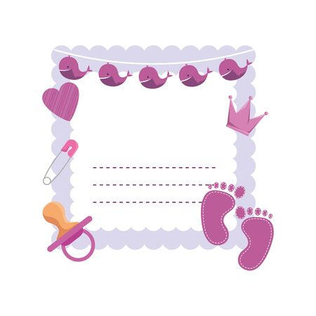 baby shower card with set accessories vector illustration design Çizim