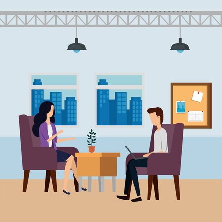 elegant business couple workers in the office vector illustration design