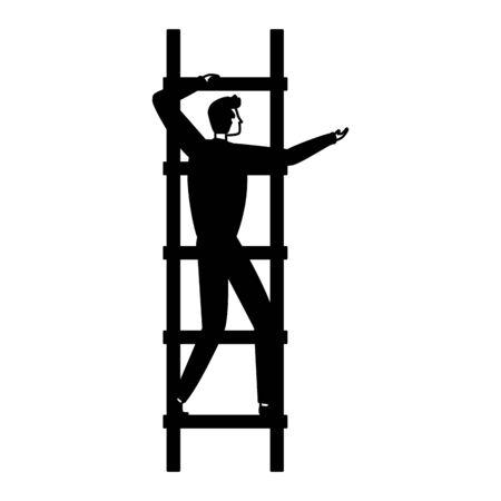 businessman climb ladders business success vector illustration Çizim