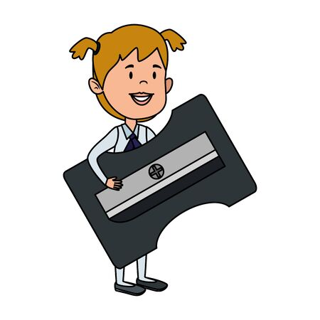 happy student girl with sharpener supply vector illustration design Foto de archivo - 129328618