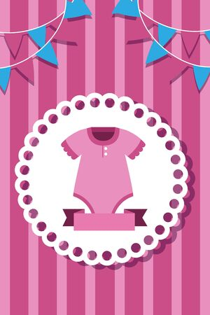 postcard with baby girl clothes icon vector illustration design Foto de archivo - 129328623