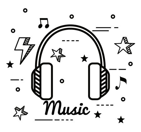 headphones with thunder and star with notes melody to music style vector illustration