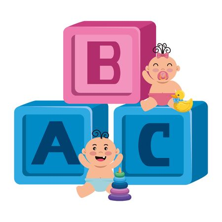 alphabet blocks toys with little babies vector illustration design Ilustração