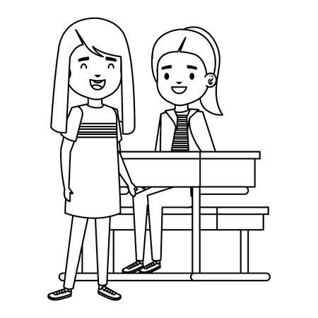 cute little students girls in school desk vector illustration design Ilustração