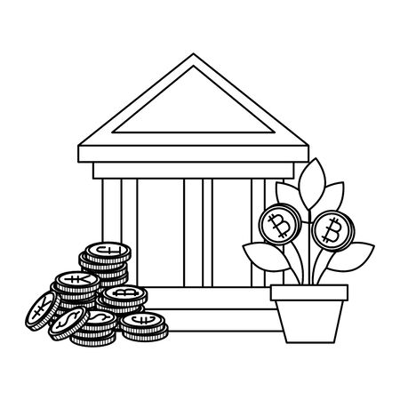 bank building with bitcoins icons vector illustration design Reklamní fotografie - 129328844