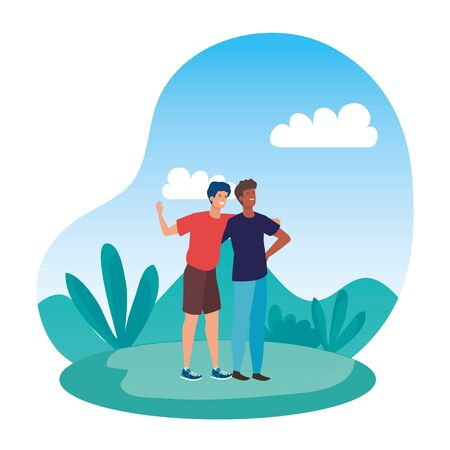 interracial young men friends celebrating in the park vector illustration design  イラスト・ベクター素材