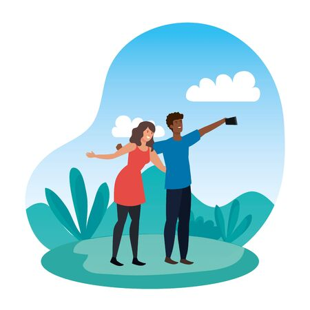 interracial lovers couple taking a selfie in the camp vector illustration design  イラスト・ベクター素材