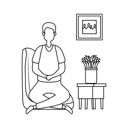 man in living room place scene vector illustration design
