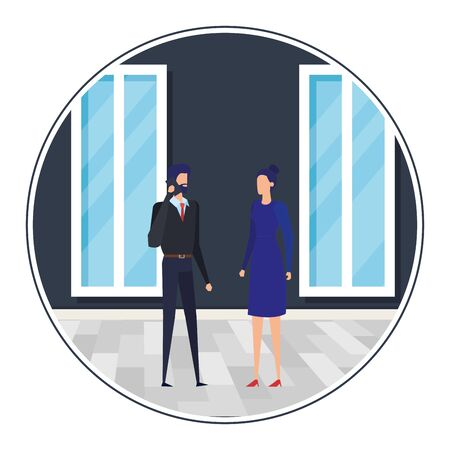 business couple in the workplace characters vector illustration design Stock Vector - 129328854