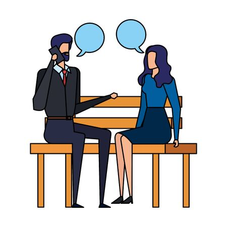 business couple calling in the park chair and speech bubbles vector illustration Stock Vector - 129328875