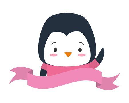 cute penguin sticker cartoon vector illustration design
