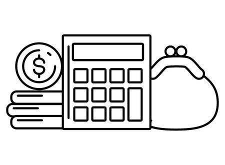 calculator money purse online payment vector illustration Ilustração