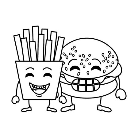 delicious burger with french fries character vector illustration design