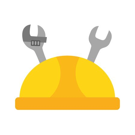 hard hat and tools labour day vector illustration