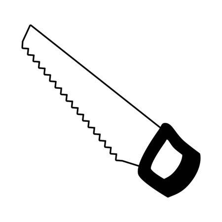 Icono de herramienta de sierra en la ilustración de vector de fondo blanco