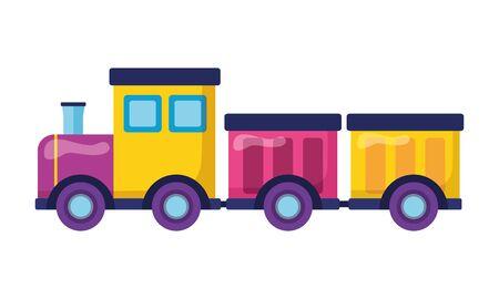 Vagones de tren juguetes para niños sobre fondo blanco ilustración vectorial