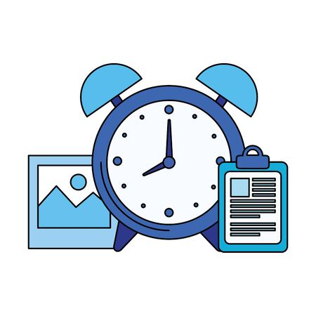 alarm clock with checklist icon vector illustration design