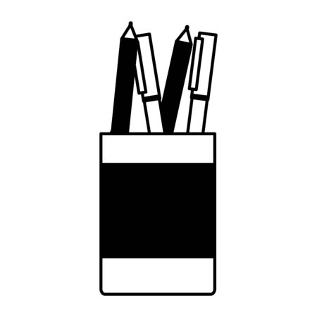 office pencils on cup on white background vector illustration