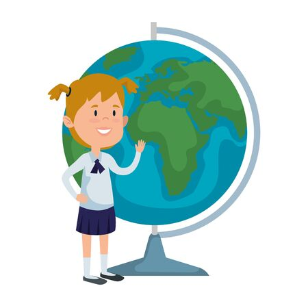 happy student girl with world map supply vector illustration design Stock Illustratie
