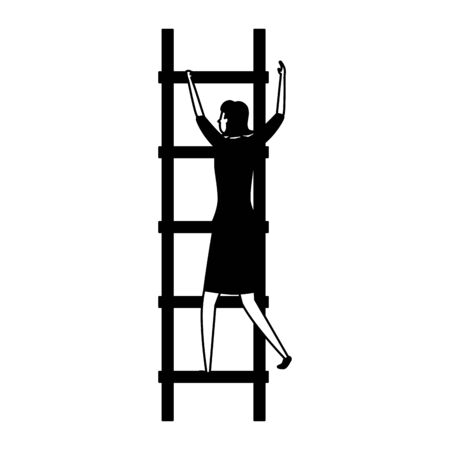 businesswoman ladders creativity business success vector illustration