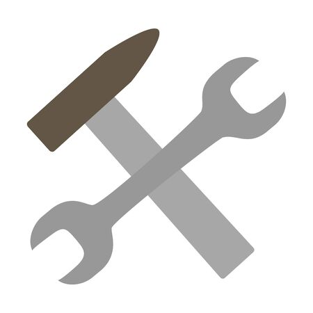wrench hammer tools on white background vector illustration Standard-Bild - 129833692