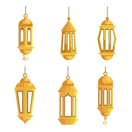 set of tradition lamps hanging to eid al adha over white background, vector illustration