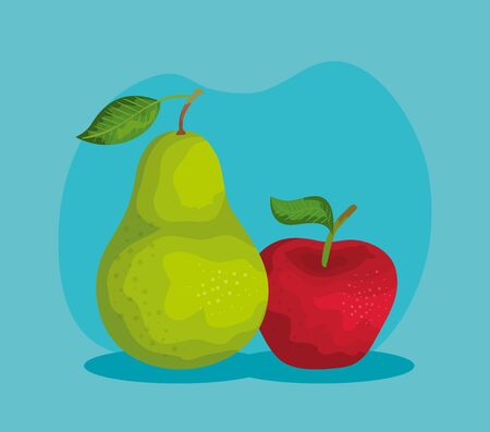 delicious pear and apple fruits nutrition over blue background, vector illustration