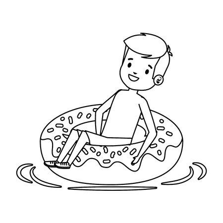 cute little boy with swimsuit and donut float vector illustration design Standard-Bild - 129353122