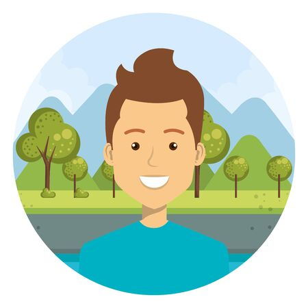 young man in the camp character vector illustration design Ilustracja