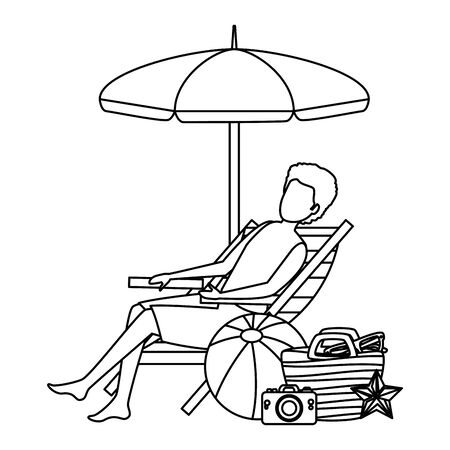 man with swimsuit seated in beach chair with summer icons vector illustration