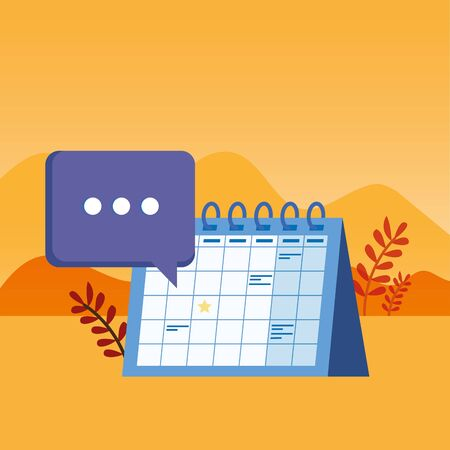 calendar reminder date with speech bubbles vector illustration design Stock Illustratie